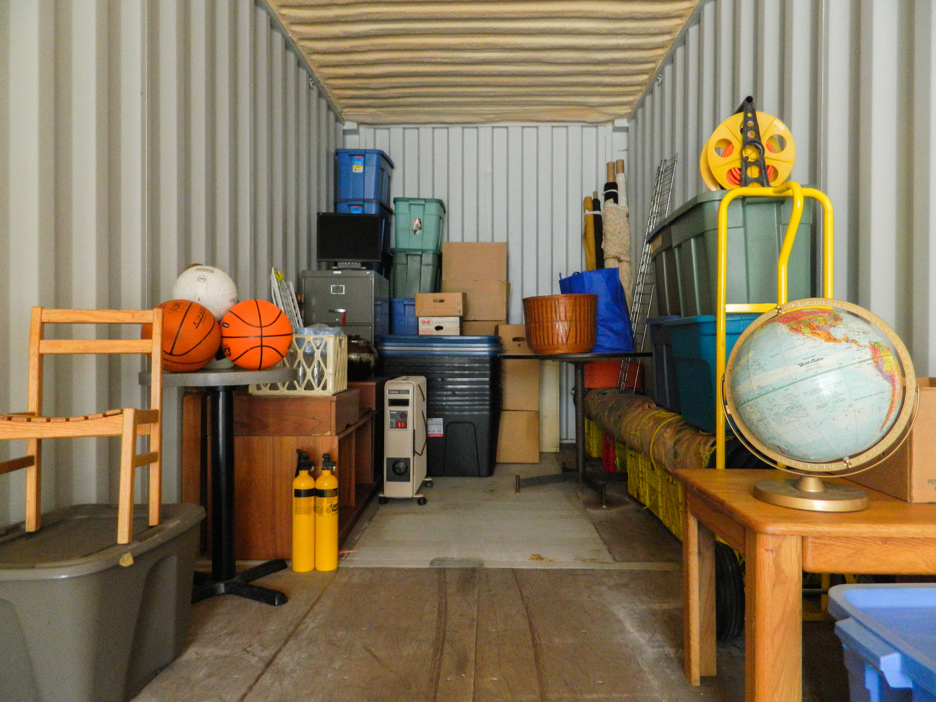 Inside of a storage container